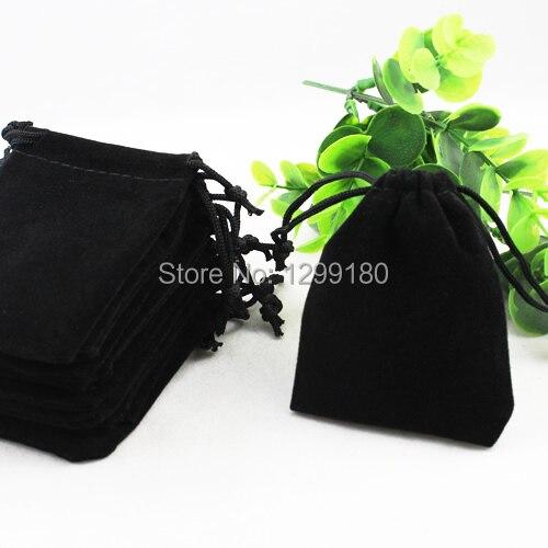 7x9cm 50Pcs/lot Black Velvet Drawstring Pouch Bag/Jewelry Bag Christmas/Wedding Gift Bag (K00196)