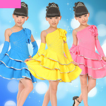 Latin Dance Dress for Girls Paillette Salsa Dresses Girl's Dance Sequin Costume Kids Tango Dancewear
