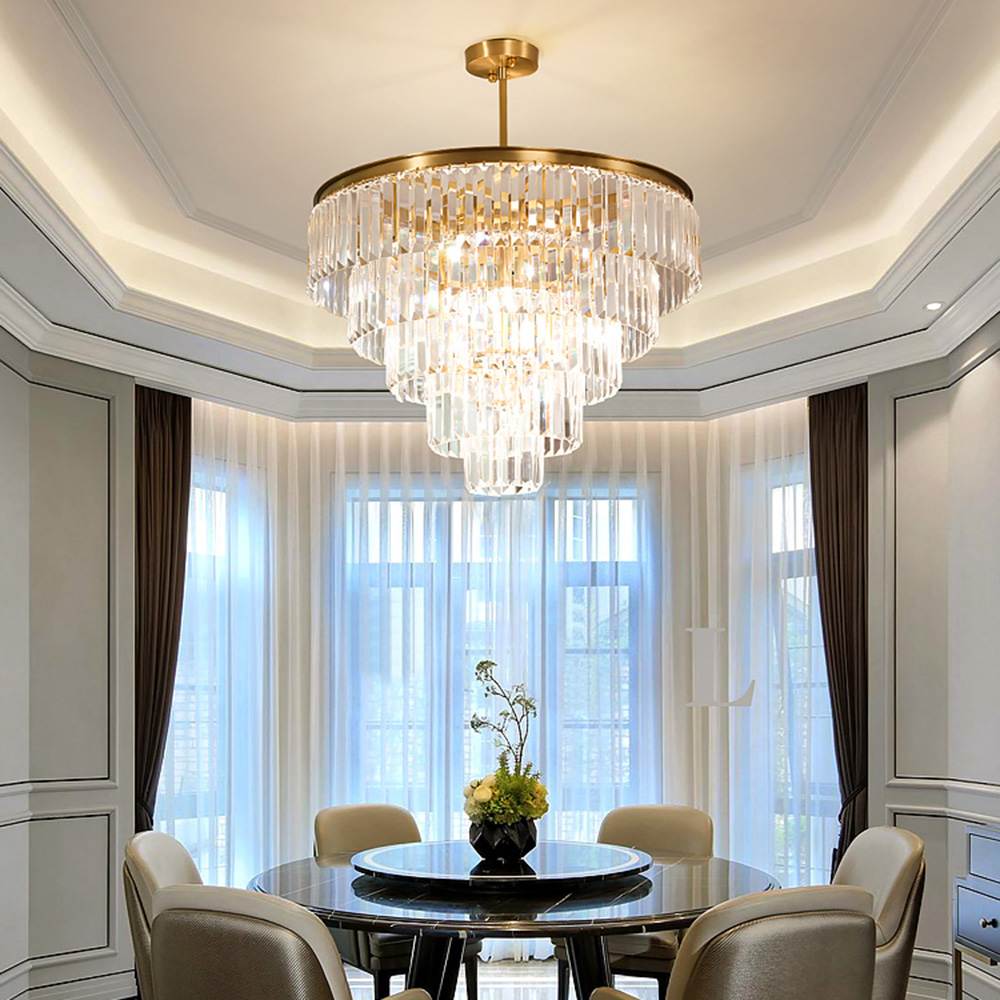 Modern Top Luxury Clear Crystal Chandelier Lighting Round Gold Hotel Lobby Chandeliers For Living Room LED Indoor Light Fixtures