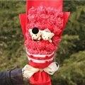 Мультфильм букет подарочной коробке моделирование пластиковые поддельные розы и мишка букет подарочная коробка день святого валентина подарок на день рождения