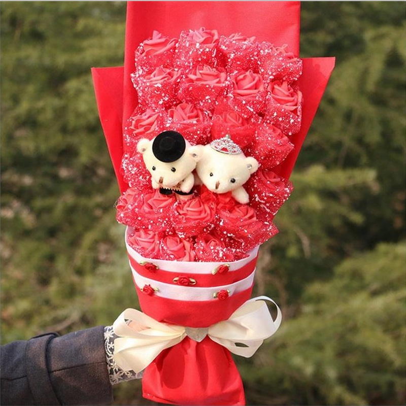 ФОТО Cartoon bouquet gift box simulation plastic fake roses and teddy bear bouquet gift box creative valentine's day  birthday gift