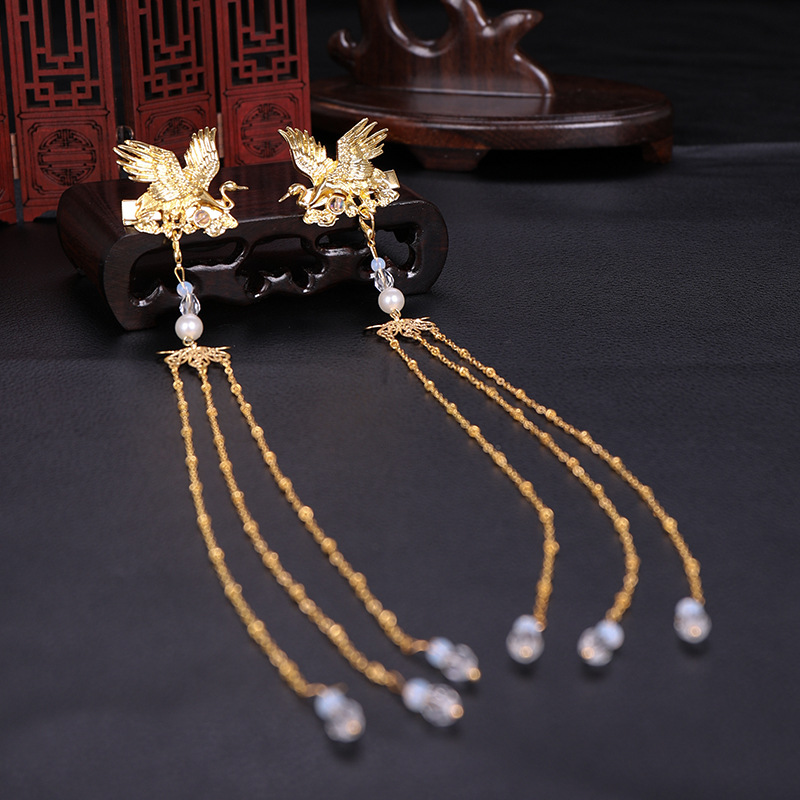 Hot selling Ancient Style bird long tassel barrettes Hair Ornament Retro Crane Hair Ornament Headwear Accessory in Hair Jewelry from Jewelry Accessories