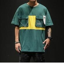 Mens cotton T-shirt short-sleeved summer street dance casual large size shirt clothing M-5XL