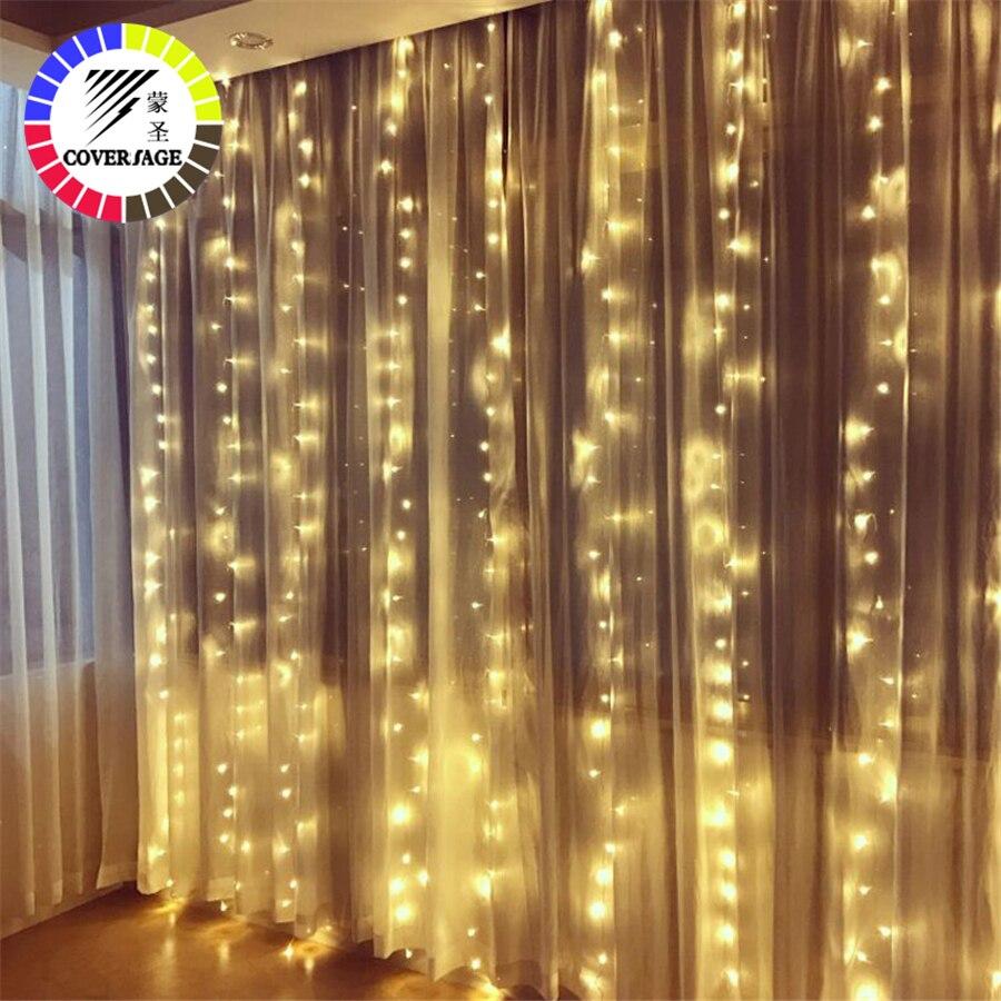 Guirnalda decorativa de Navidad de cortina de Hada de fiesta de Navidad de cadena decorativa luces de boda de jardín de fiesta de navidad