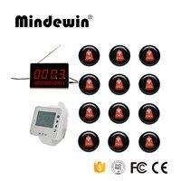 Mindewin 2017 очереди системы 12 шт. официант Водонепроницаемый звонок + 1 шт. LED Дисплей + 1 шт. наручные часы Беспроводной таблице вызова службы