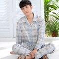 2016 de invierno masculina hombres pijama pijama pijamas ropa de dormir real turn down collar de imitación de seda ropa de dormir camisón de la manga completa