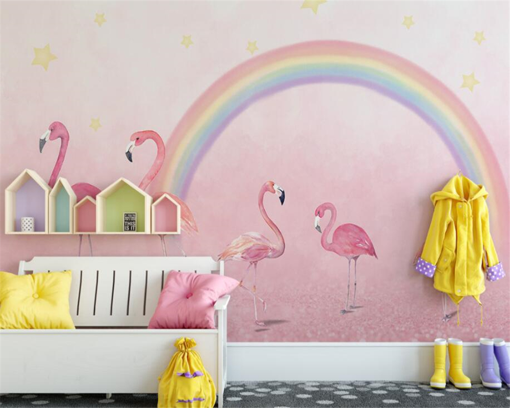 Купить с кэшбэком Beibehang Custom wallpaper hand painted flamingo kids room wallpaper pink background wall wallpaper for walls 3 d papier peint