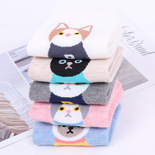 Womens Fashion Cute Kitty Cat Print Socks Multi Colored 1 Pair