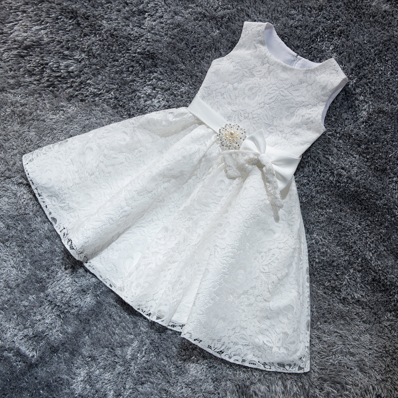 Lace Flower Girl Dresses for Wedding Princess Little Girls Kids/Child Dress with Bow Party Pageant First Communion Dress