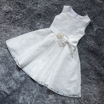 цена на Lace Flower Girl Dresses for Wedding Princess Little Girls Kids/Child Dress with Bow Party Pageant First Communion Dress