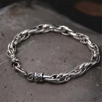 7MM 100 Real Pure 925 Sterling Silver Bracelets For Women Men Fine Jewelry Vintage S925 Solid