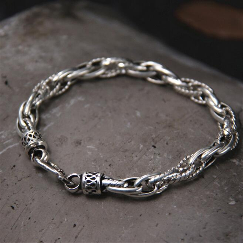 7MM 100% Real Pure 925 Sterling Silver Bracelets for Women Men Fine Jewelry Vintage S925 Solid Thai Silver Chain Bracelet vintage real pure 925 sterling silver handmade braided chain bracelet for men jewelry mens bracelets 2018