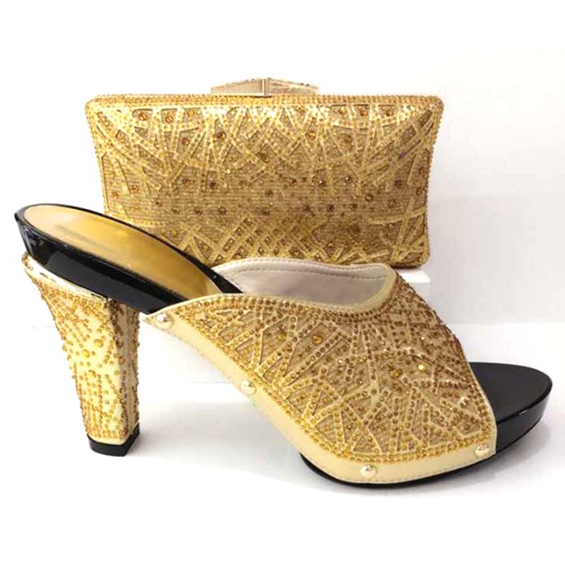 Latest Gold Color Italian Shoes With Matching Bags Shoe And Bag Set For Party In Women Nigerian Wedding Shoes And Bag Set th16 38 gold free shipping high quality lady italian matching shoes and bag set for wedding and party in wholesale price