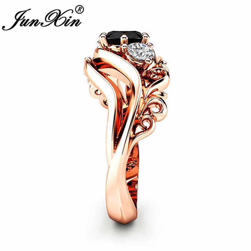 JUNXIN เหล้าองุ่นคลื่นใบไม้เสน่ห์ผู้หญิงหรูหราแหวนทองคำขาวสีขาวสีดำหินเพทายแหวนแต่งงานหญิงแถบ