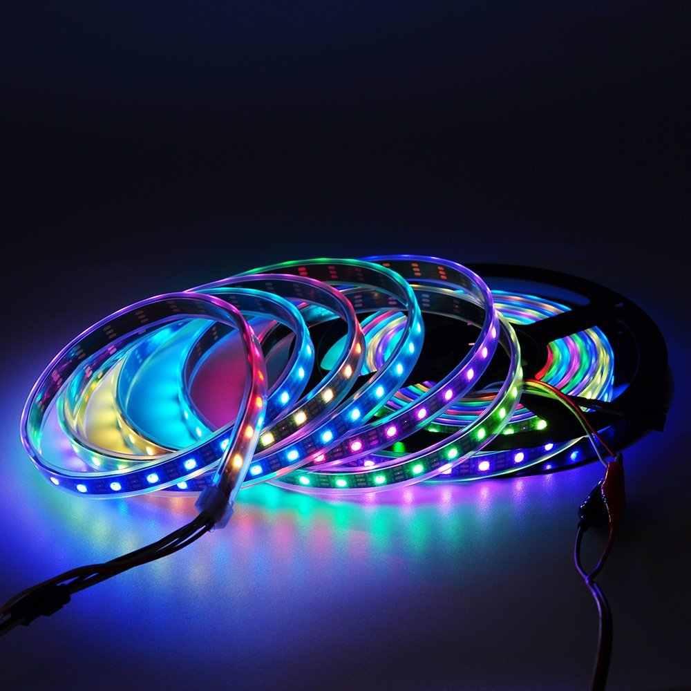 5 M 5V WS2812B WS2812 LED Strip Lampu Secara Individual Addressable Smart RGB LED Pixel Strip Hitam/Putih PCB tahan Air IP30/65/67