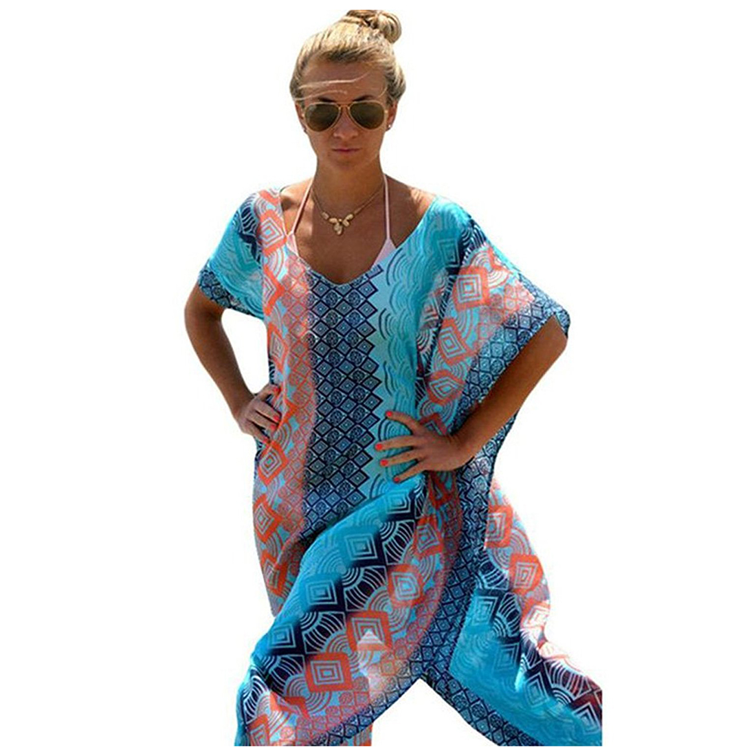 2x Womens Chiffon Robe Beach Dress Swimsuit Bathing Suits Bikini Cover-ups,Blue,One Size