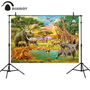 Image 4 - Allenjoy photophone background Wild animals safari zoo forest  lion king backdrop for photography Birthday Baptism photobooth