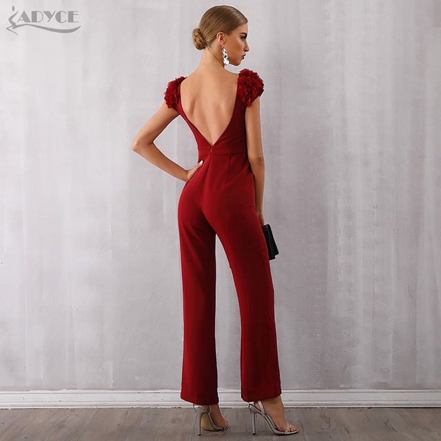 Red Backless Romper Long Jumpsuit Ruffles Bodycon Club Bodysuit 5