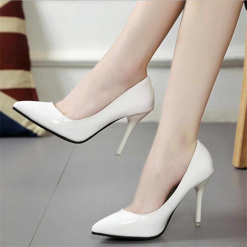 2020 yeni moda yaz kadın yüksek topuklu ayakkabılar olgun tarzı kadın pompaları düz renk bayanlar pompaları Slip-On ince topuklu f026