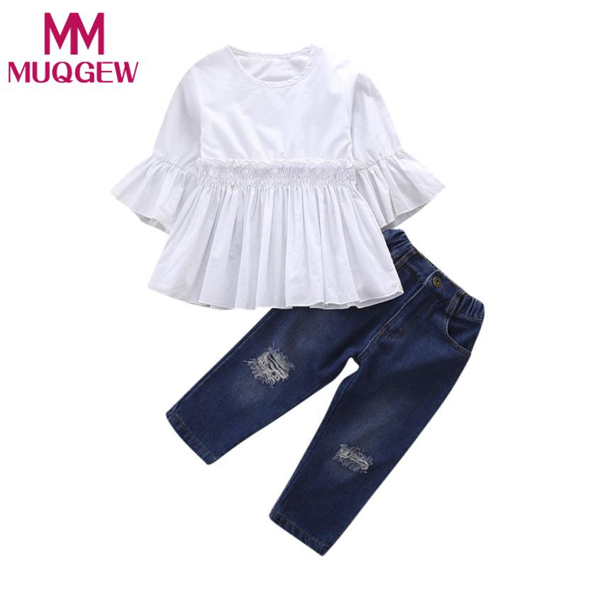 MUQGEW 2018 KIDS girls suit summer costumes 2Pcs Toddler Kids Baby Girls Solid Tops+Denim Pants Outfits Clothes Set 3pcs outfit infantil girls clothes toddler baby girl plaid ruffled tops kids girls denim shorts cute headband summer outfits set