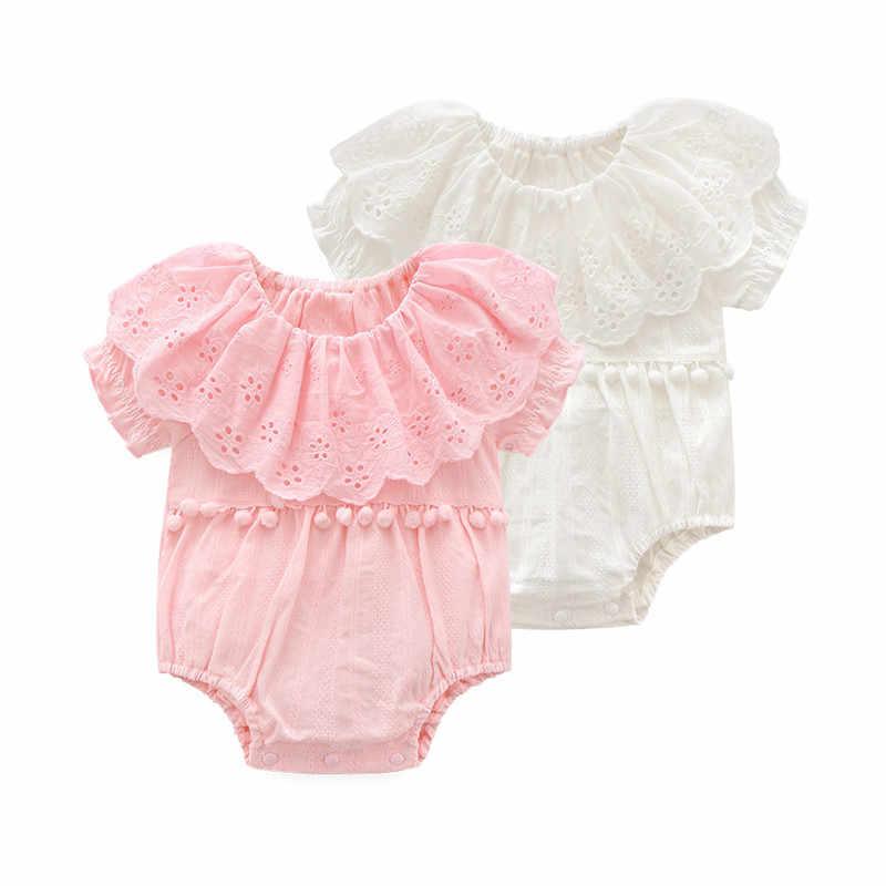 Beige, 0-3 Months Sweet Ruffles Cotton Short Sleeve Newborn Baby Girls Bodysuit