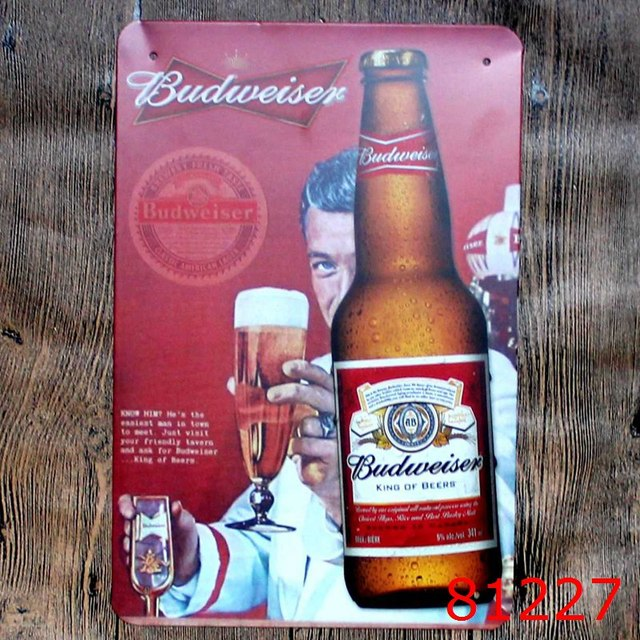 Budweiser Beer Signs Vintage Metal Tin Plate Iron Painting Wall Decoration For Cafe Bar Restaurant
