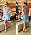New Arrival 2016 Short Homecoming Dresses Lace Cap Sleeves Beaded Crystals Tulle Plus Size Club Dresses Party Gowns