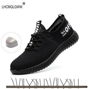 Image 1 - 2019 ใหม่ความปลอดภัยรองเท้าสำหรับชายฤดูร้อนBreathableรองเท้าน้ำหนักเบาAnti Smashingรองเท้าชายทำงานก่อสร้างตาข่ายรองเท้าผ้าใบ