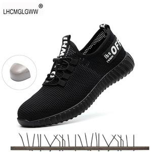 Image 1 - を 2019 新安全男性の夏の通気性作業靴軽量抗スマッシング靴男性工事メッシュスニーカー