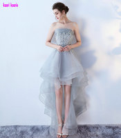 Fashion Silver Evening Dresses 2017 New Sexy Strapless Tulle Appliques Lace Up Beach Prom Dress Built