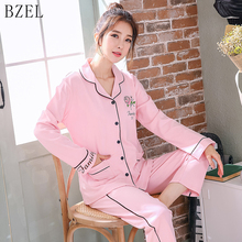 BZEL Cotton Women Pajama Sets Female Cute Home Service Long