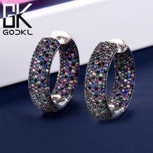 GODKI الفاخرة دائرة مستديرة زركون بيان هوب أقراط للنساء الزفاف دبي أقراط مجوهرات اكسسوارات 2018