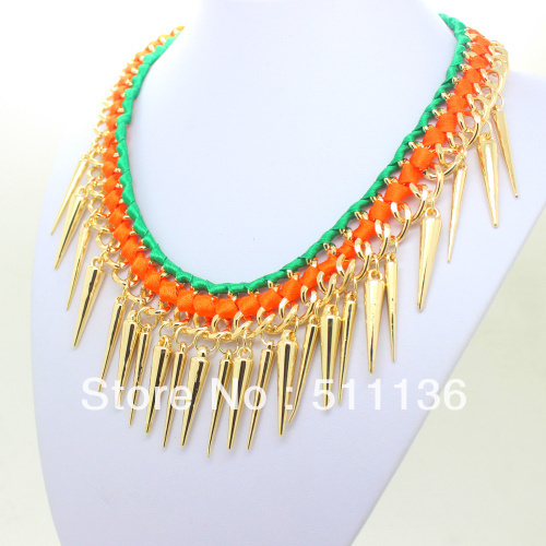 New Arrival 2013 Gold spike Ribbon Woven Punk Chunky Heavy Chain Necklaces Mixed Colors KK-SC057 Retail