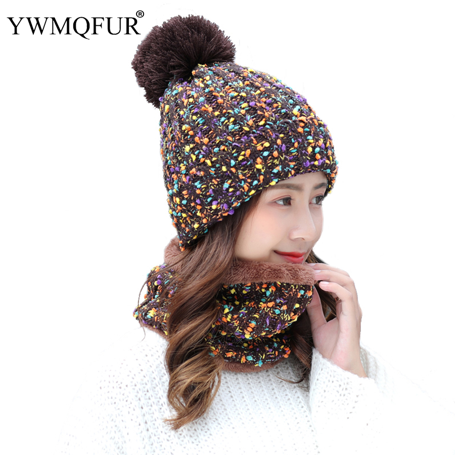 2018 Winter Hat Scarf Sets For Women Vintage Knit Lady Beanies Cap Girl Outdoor Warm Colorful Skullies Hats Female Rings Scarves