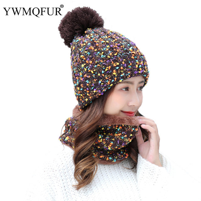 8c48bbe2 2018 Winter Hat Scarf Sets For Women Vintage Knit Lady Beanies Cap Girl  Outdoor Warm Colorful Skullies Hats Female Rings Scarves