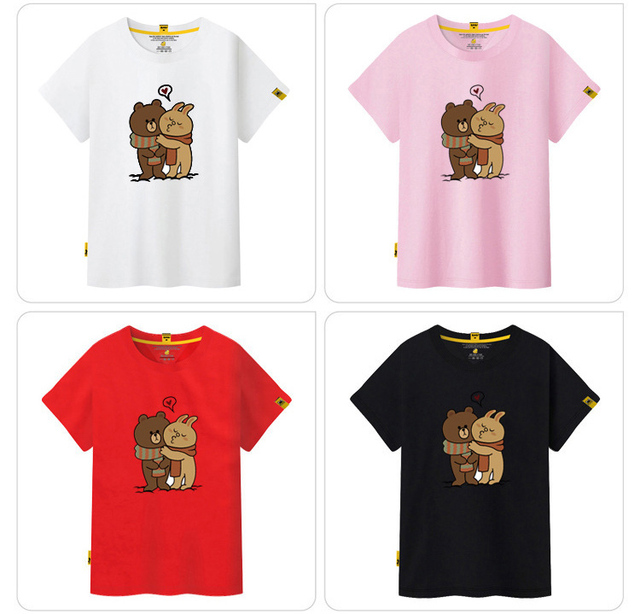 d6c424166 2018 New Korean women kids T-shirt short sleeve cartoon line Brown bear  family printing t-shirt O-neck Casual XS to XXXL size