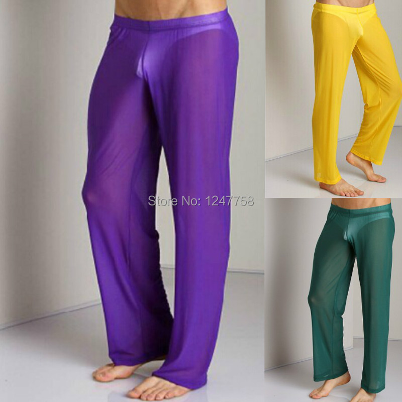 Men's Soft Mesh Long Pants Homewear Sleep Bottoms Underwear