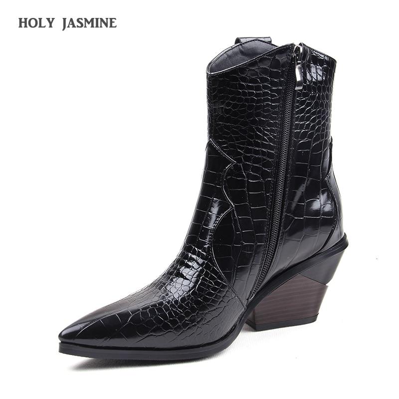 2019 automne hiver mode Cowgirl bottes femmes chaussures Western Cowboy bottines bout pointu en cuir noir chaussures femme talon bottes