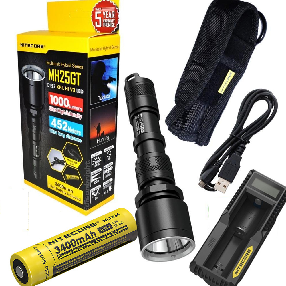 Nitecore Mh25gt Rechargeable Flashlight Xp L Hi V3 Led Max 1000lm Gt Camping Hiking Flashlights Lanterns Lights Beam Distance 452 Meters Torch 18650 Battery Charger In Torches From Lighting On Alibaba Group