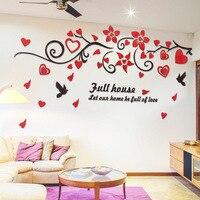 3d الطيور الحب زهرة كرمة جدار الشارات الفن الاكريليك مرآة ملصقات الحائط ديكورات غرفة المعيشة خلفية التلفزيون خلفية ملصق