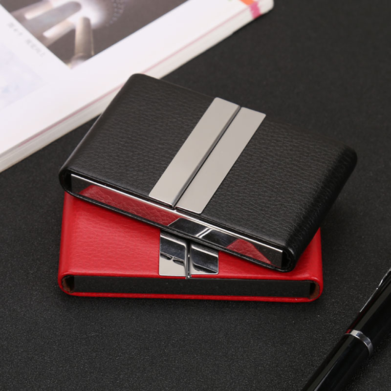 QOONG NEW Big Capacity Travel Card Wallet Leather Double Open Credit ID Card Holder Business Card Case Metal Wallet Cardholder in Card ID Holders from Luggage Bags