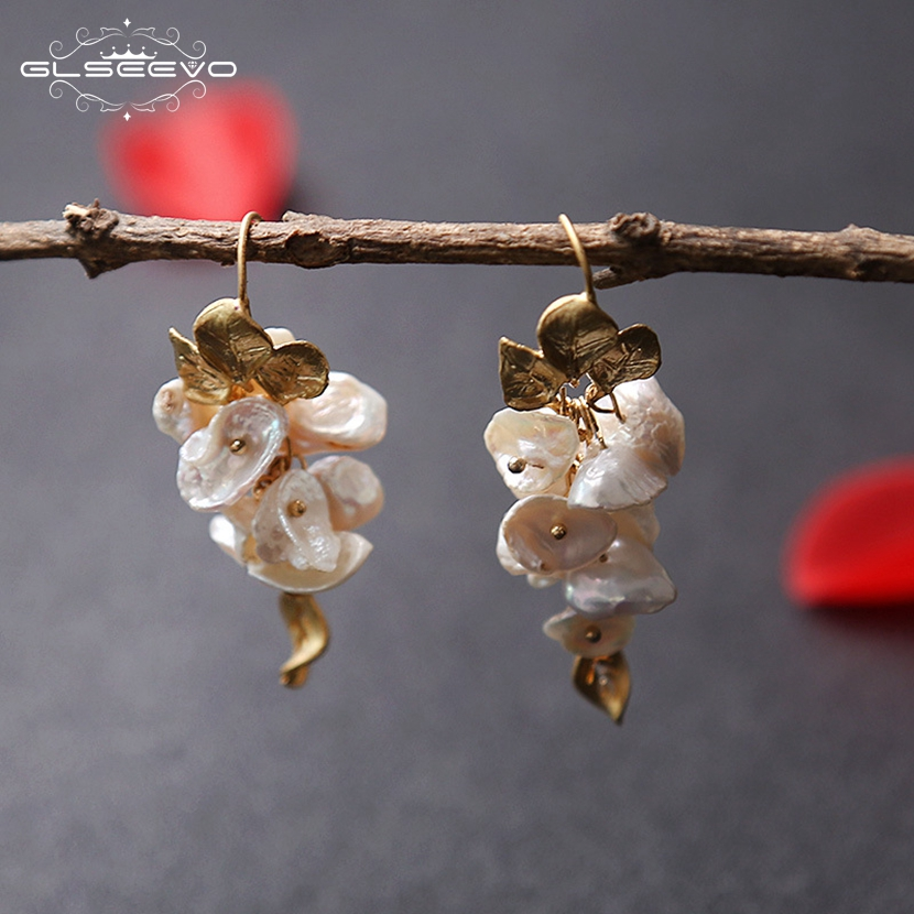 GLSEEVO Natural Baroque Fresh Water Pearl For Women A Bunch Of Grapes Shape Dangle Earrings Fine Jewelry Brinco Feminino GE0466 pair of starfish shape earrings for women