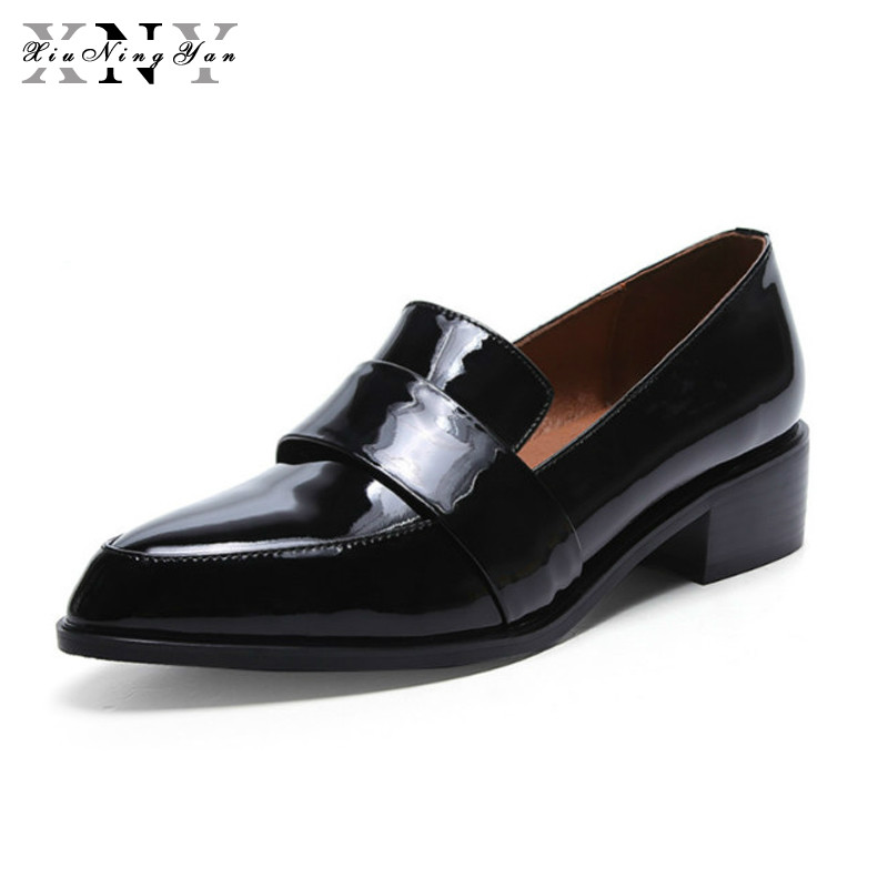 цена на XIUNINGYAN Loafer Full Genuine Leather Shoes Woman Fashion Casual Pointed Toe Low Heel Black Autumn Spring Women's Footwear Lady
