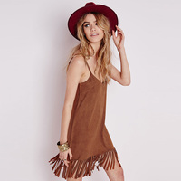 Fashion America Style Women Elegant Suede Leather Tassel Dresses Vintage V Neck Sleeveless Spaghetti Strap Casual