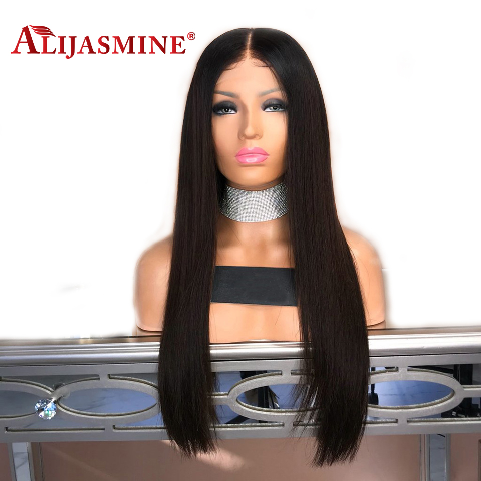 Straight Silk Base Lace Front Human Hair Wigs Pre Plucked With Baby Hair Peruvian Remy Hair