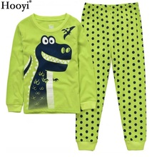 Dino Boys Sleepwear Suits 100% Cotton Long Children Clothes Sets Motor T-Shirts Pants 2-Pieces Kid Pyjamas 2 3 4 5 6 7 Year