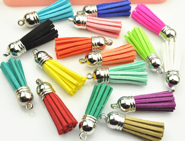 10pcs 38mm Full Length Suede Tassel For Keychain Cellphone Straps Jewelry Charms, Leather Tassels With Silver Bronze Gold Caps