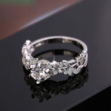 New Fashion Women Ring Princess Rhinestone Rings Leaf Shaped Style Engagement Wedding Jewelry Gifts Charming