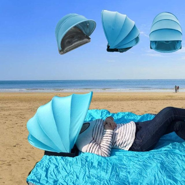 Mini Portable Sun Shelter Sun Protection Personal Tent Foldable Sun Shade Beach Umbrella with Pillow Blanket Free Shipping