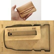 Plantilla de troqueles de madera de hoja de acero japonés para manualidades de cuero, soporte para tarjetas, juego de moldes de cuchillo troquelado, herramienta de punzonado manual, 2 uds.
